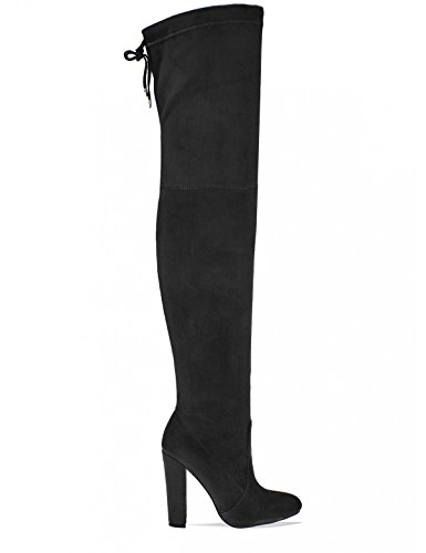 3a4187f82d Lamoda Womens Thigh High Boots With Tie Detail In Black Faux Suede Size 3 -  £34.99