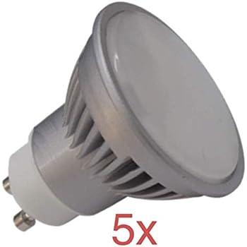 (LA) 5x GU10 LED 7W - Blanco calido (3000k). Halogeno LED con 680 LUMENES REALES- LA GU10 MAS POTENTE DEL MERCADO! (Blanco calido 3000K, Pack 5x)