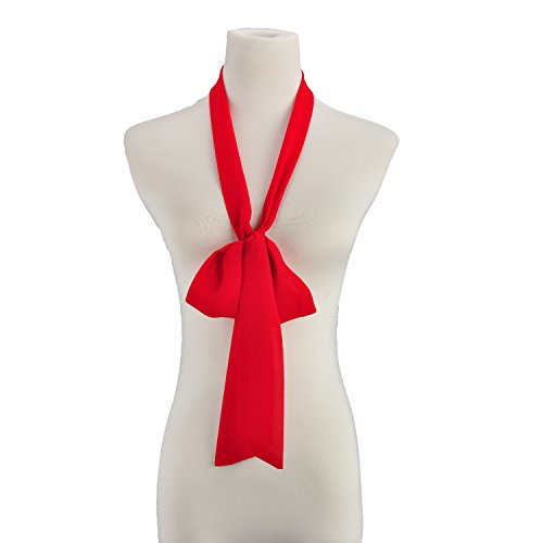 Damen Choker Skinny Schal Damen Dünner langer Halstuch Krawatte Bogen Chiffon 200cm (rot) (Silk Schal Skinny)
