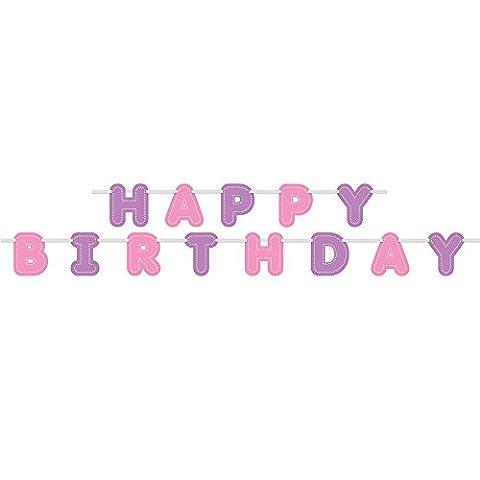 Unique Party - 49487 - Banderole d'Anniversaire - Happy Birthday - Violet/Rose - 2,7 m