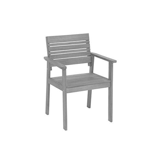 greemotion Chaise de Jardin Maui en Bois en Bois d'Acacia 100% FSC, Fauteuil de Jardin en Bois Massif, Chaise d'Extérieur avec Accoudoirs, env. 58 x 83 x 56 cm, Gris