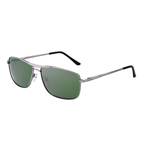 JIM HALO Polarisiert Rechteck Sonnenbrille Fahren Leicht Gewichts Federscharnier Rahmen Dame Herre G15