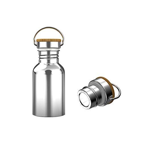 Interlink-UK 350ml Trinkflasche Edelstahl mit Bambusdeckel Isolierflasche Getränkeflasche Sportflasche BPA Frei Vakuumisolierte Doppelwandig Thermoskanne für Outdoor, Büro, Camping (350ml)