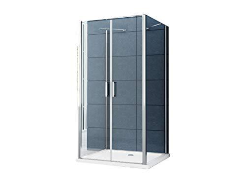 U Form Duschkabine Dusche Aron 100 x 90 x 195 cm / 8 mm/ohne Duschtasse