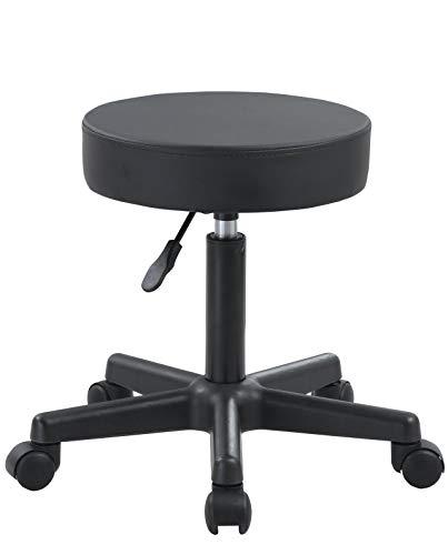 KAYELLES Tabouret Bureau à roulettes YÈ - pivotant 360° réglable en Hauteur (Noir)