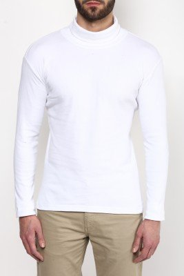 Hypernation White Color Cotton High Neck Cotton T-Shirt