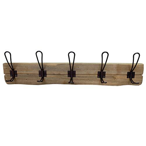 CVHOMEDECO. Primitives Perchero de Pared de Madera Maciza con 5 Ganchos Dobles de Madera rústica para Entrada, Cocina, Cuarto de baño Color marrón.