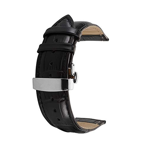 omyzam Herren Frau Leder Ersatz Uhr Armband mit Mode Sport und Freizeit Zubehör Automatische Faltschließe 22mm Schwarz