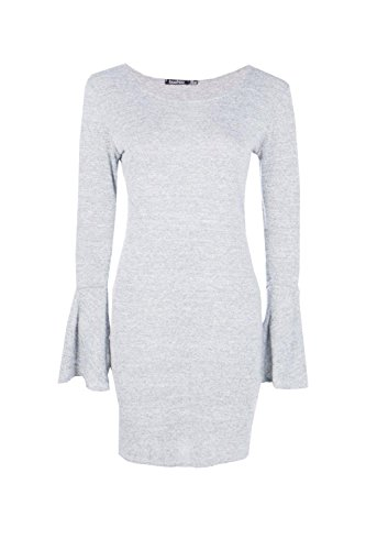 gris Femmes Phoebe Tie Flute Sleeve Knitted Dress Gris