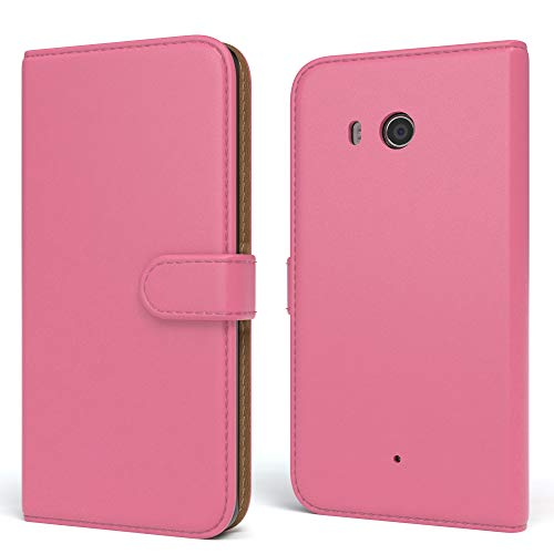EAZY CASE HTC One (M8) / (M8s) Hülle Bookstyle mit Standfunktion, Book-Style Case aufklappbar, Schutzhülle, Flipcase, Flipstyle, Flipcover mit 2 Kartenfächern aus Kunstleder, Pink
