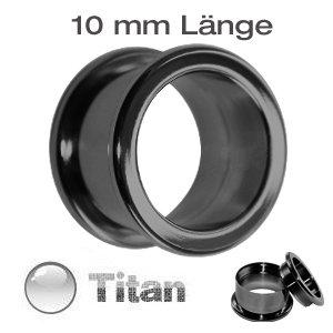 Titan Tunnel en noir–Extra Longue–Tailles: 2–20mm–Visser avec filetage intérieur–Tunnel oreille Piercing en titanium noir 10 mm Size