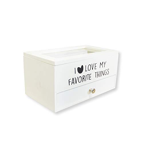 DRULINE Schmuckkasten Schmuckbox I Love My Favorite Things zur Aufbewahrung aus Holz mit 2 Ebenen und Schublade für Halsketten Armbänder und Ringe Geschenkidee | L x B x H 26 x 14.5 x 13 cm | Weiß