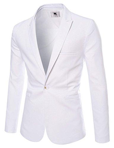 NEARKIN Herren Slim Fit Anzug Casual One Button Solid Cotton Blazer Sportjacke - Weiß - X-Groß - Weiße Die Männer Dinner-jacket
