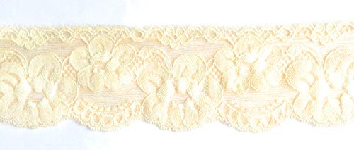 Elastische Spitze, elastisch, 6,3 cm breiter Rand, Stretch, für Haarbänder, Strumpfhalter, Dessous, Stretch, Spitzenbesatz und -