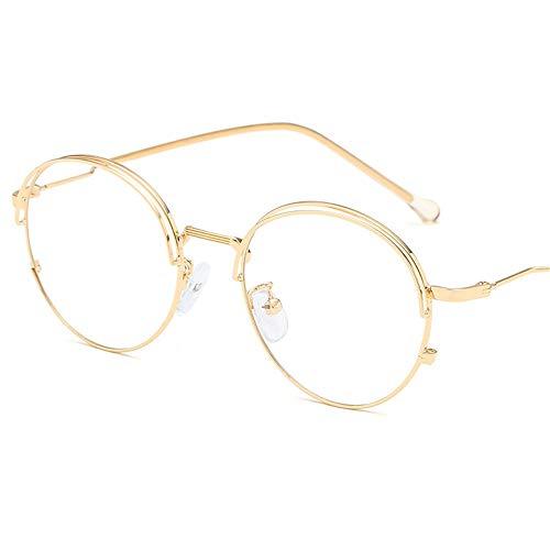 P-WEIAN Brille Brillengestell Modetrend Doppelaugenbraue Brillengestell Metall t flachen Spiegel Unisex, Goldrahmen