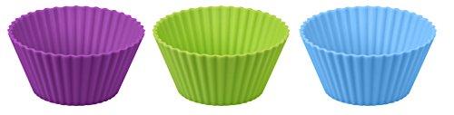 Dr. Oetker Silikon-Muffinförmchen, Silikonformen für Muffins und Cupcakes, Förmchen aus hochwertigem Platinsilikon mit Antihaft-Eigenschaften (Farbe: lila, grün, blau) - spülmaschinengeeignet, Menge: 1 x 12er Set