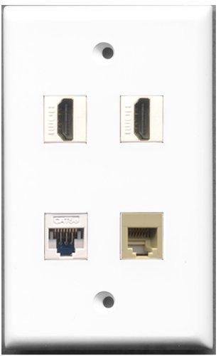 RiteAV-2Port HDMI 1Port Telefon RJ11, RJ12, beige 1Port Cat5e Ethernet weiß Wall Plate 4 Port, Single Gang Keystone