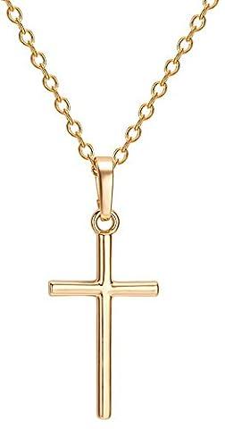 Petite Croix Argent - Y-BOA Collier Court Clavicule Simple Pendentif Plaqué