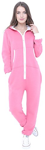 Juicy Trendz Neue stilvolle Damen-Kapuzenpulli Hoody Strampelanzug Körperanzug Jumpsuit Overall, Rosa, Gr. L
