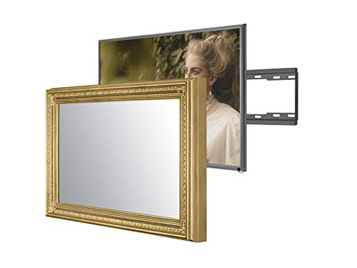 Handmade Framed Mirror TV with Samsung to Blend This Hidden Mirrored Television into Your Home or Business Decor (55 Inch, Patterna Gold)