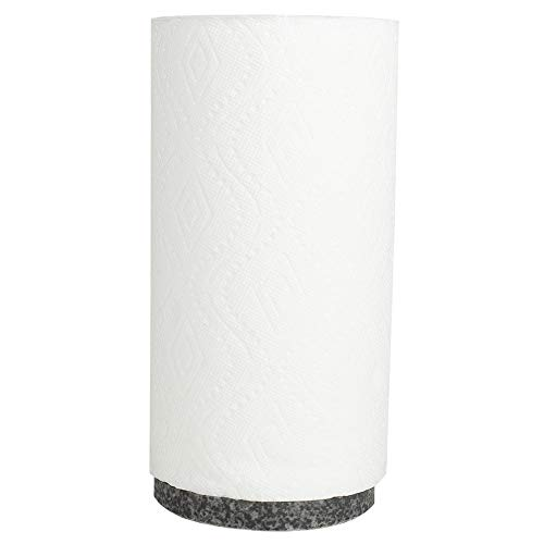Home Basics PH47693 Freestanding Bamboo Paper Towel Weighted Granite Base-Simple Tear Kitchen Countertop Tissue Holder for Standard & Jumbo Napk, Black -