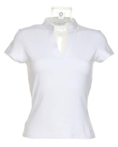 Preisvergleich Produktbild Kustom Kit Damen' Körperschaftlich Kurzärmlig V-Ausschnitt Mandarinkragen Top[KK770] - Weiß, 8-10