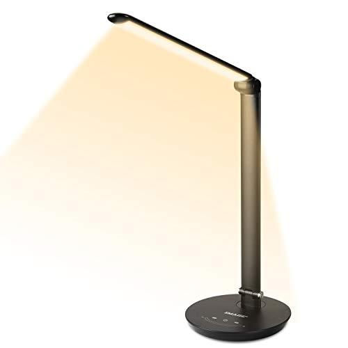 IMAGE 12W LED Schreibtischlampe mit 72 LED Birne, Stufenlos einstellbare Touch-Control Helligkeit mit Speicherfunktion, Drehbare Tischlampe mit USB-Ladeanschluss, perfekt für Büro und Arbeit - MEHRWEG