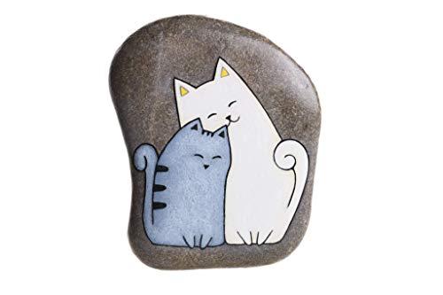 Hand-bemalter Stein zum Aufhängen mit Katzen -