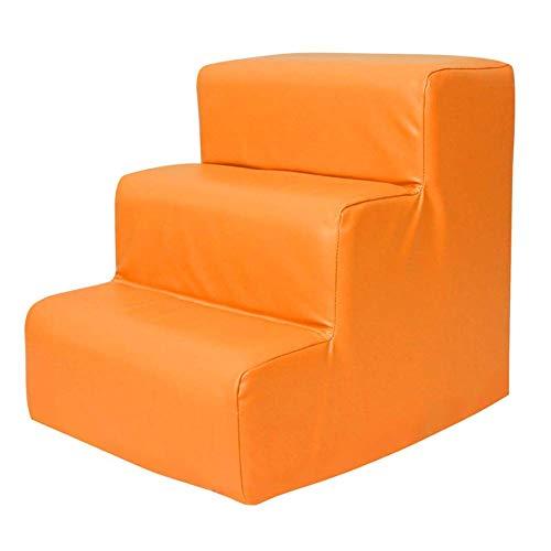 CAItii 3 Schritte Babybett, Haustier Leiter, Kinder Weichtasche Schritt, Treppensteigen, Treppen nach Hause waschbar (36 x 48 x 42 cm Orange),ORANGE