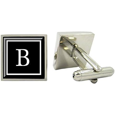 MFYS - Gemelli quadrati, stile business, personalizzati con iniziale, confezione regalo inclusa - Stile Quadrato Gemelli