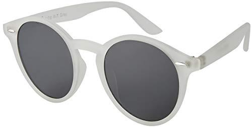 La Optica UV 400 Damen Herren Retro Runde Sonnenbrille Round - Einzelpack Rubber Transparent (Gläser: Grau) (Sonnenbrille Weiße Runde,)