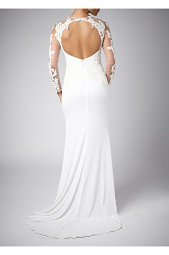 Mascara Ivory Lace Sleeve and Jersey Long Gown 181077 Elfenbein - Elfenbein