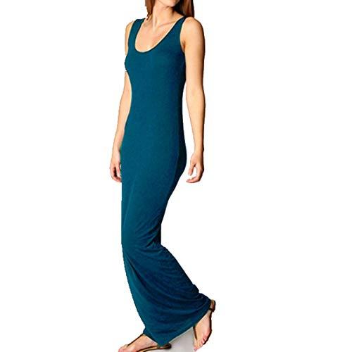 Frauenkleid Sexy ärmellose Rundhalsausschnitt Lange Maxi Slim Fit figurbetonten Tank Weste Spalte Kleid (Farbe : Lake Blue, Size : XL) -