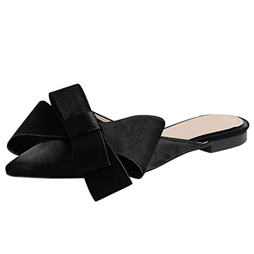 PRINCER Womens Bow Tie Slipper Ladies Pointed Toe Shallow Flat Solid Casual Shoes Summer Slides Flat Sandals Slip on Bowknot Cute Slippers Platform Espadrilles Comfortable Cork Flats Mules