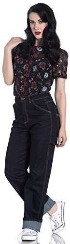 Denim Carpenter Jeans (Hell Bunny Damen Hose Carpenter Jeans Blau S)