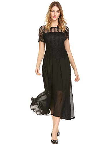 inkeme Women Casual O-Neck Short Sleeve Lace Patchwork A-Line Pleated Swing Sexy Dress Kleider