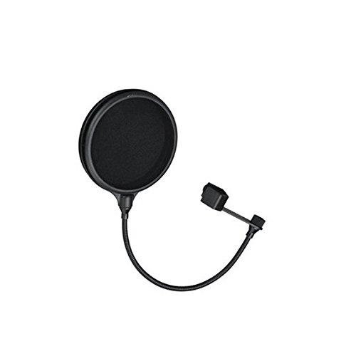 ROSENICE Mikrofon Windschutz Pop Filter Studio Record Doppelschicht Maske Schild mit flexiblen Holder(Black) (Black-schild)