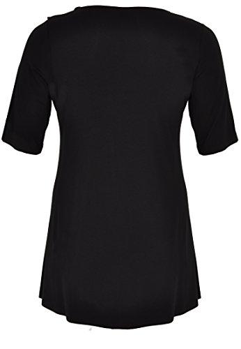 Yoek Damen Übergrößen T-shirt mit Rüschen Schwarz