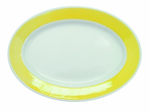 CAC China R-51-YELLOW Rainbow Rolled Edge 15-1/2-Inch by 10-Inch Yellow Stoneware Oval Platter, Box of 12 Rainbow Rolled Edge