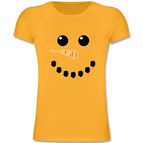 Karneval & Fasching Kinder - Schneemann Karneval Kostüm - 152 (12-13 Jahre) - Gelb - F131K - Mädchen Kinder T-Shirt