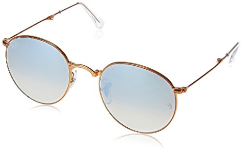Ray Ban Herren Sonnenbrille Folding Round Metal, Gold (Shiny Bronze/Grey), One Size (Herstellergröße: 47)