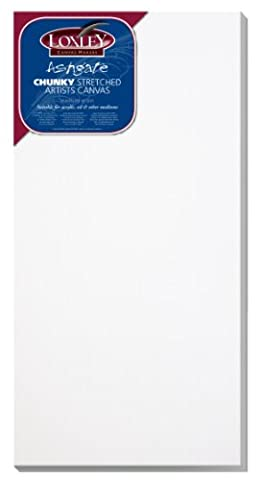 Loxley 24 x 12-inch Deep 36 mm Edge Ashgate Chunky Stretched Artists Canvas, White