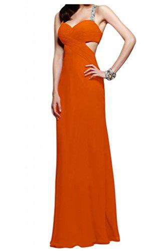 Toscane mariée abendmode rueckenfrei chiffon abendkleider de longueur fixe party promkleider ball Orange - Orange