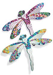 Pink, Dragonfly mosaic mirror / wall art. Fair trade. Teal also available. By Funky Global.