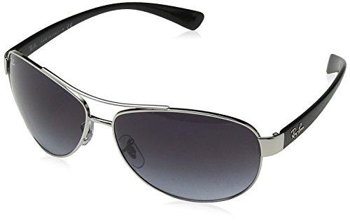 RAYBAN Unisex Sonnenbrille Mod. 3386 Mehrfarbig (Gestell: Silber/Schwarz, Gläser: Grau Verlauf 003/8G)), X-Large (Herstellergröße: 63)