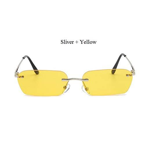 CCGSDJ Vintage Randlose Quadratische Sonnenbrille Männer Sonnenbrille Weibliche Rap Hip Hop Stil Transparent Gelbe Brille Männliche Cool