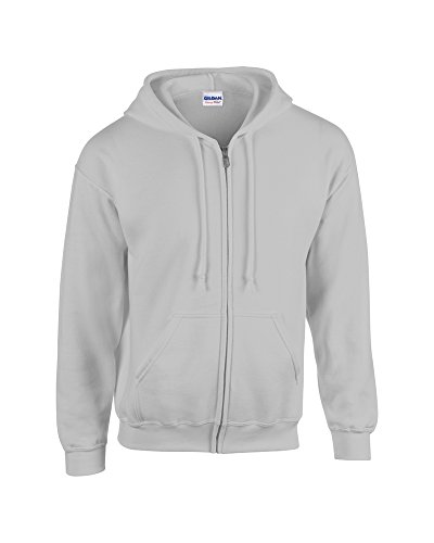 Gildan Heavy Blend, youth full zip hooded sweatshirt Sports Grey S - Grey Hooded Full Zip Sweatshirt