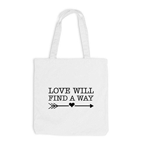 Jutebeutel - Love will find a way - Liebe Herz Pfeil Weiß