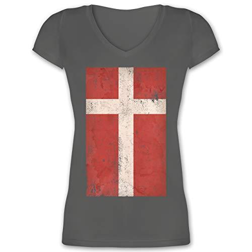 Handball WM 2019 - Dänemark Flagge Vintage - XL - Anthrazit - XO1525 - Damen T-Shirt mit V-Ausschnitt