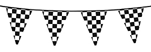 Boland BOL44750 Chequered Black & White Racing Bunting Party Banner Decoration Accessory, 6 m